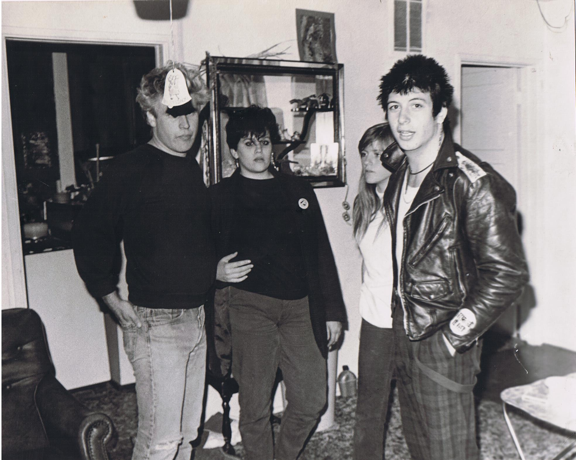 Paul, Kori, Mike Ness from Social Distorition and his girlfrind, 1980