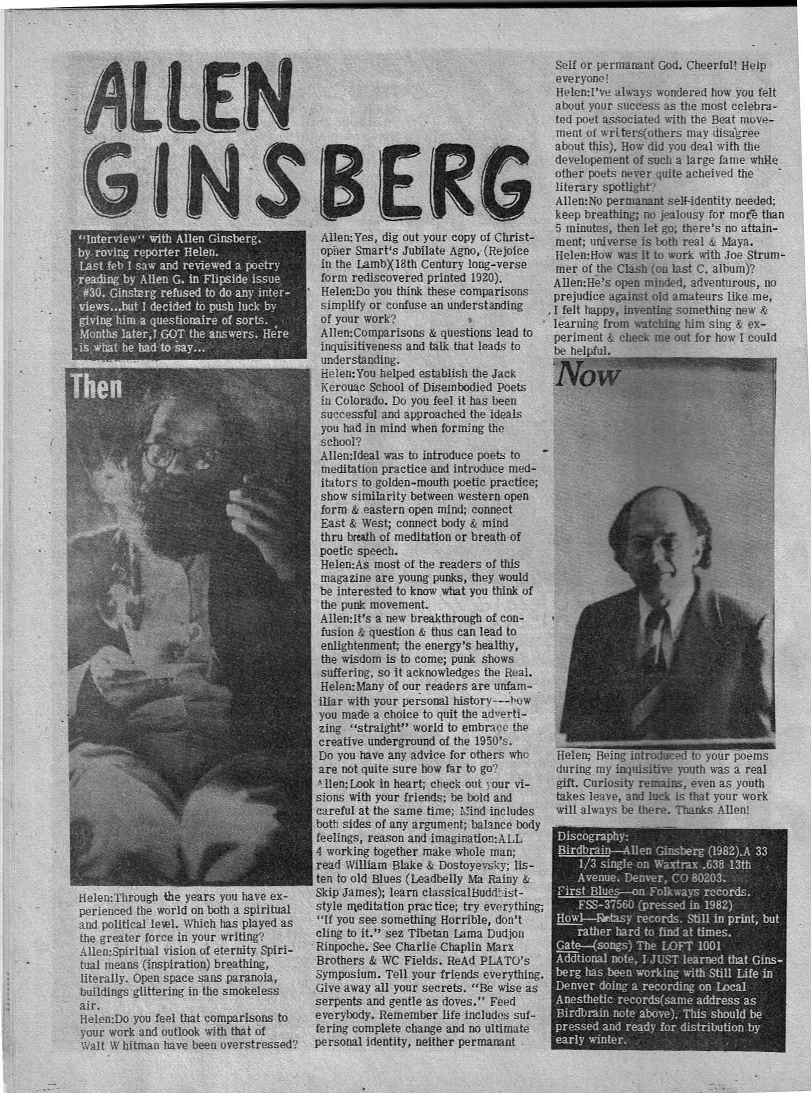 Flipside Fanzine 36 Allen Ginsberg 001