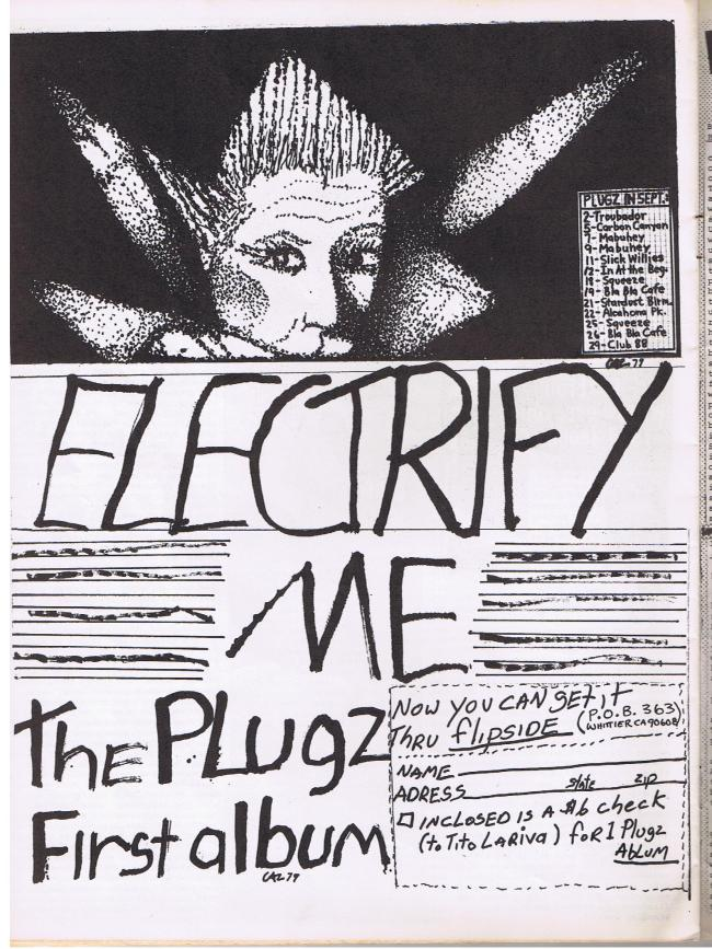 Ad in FLipside Fanzine # 16 by Gus Hudson and Hudley