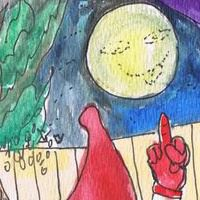 The blue Moon is not really blue. Watercolor by Hudley