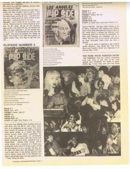 Punk Fashion Show in early Los Angeles Flipside Fanzine