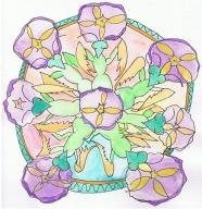 Praying Mantis and Morning Glory Mandala.Hudley Flipside